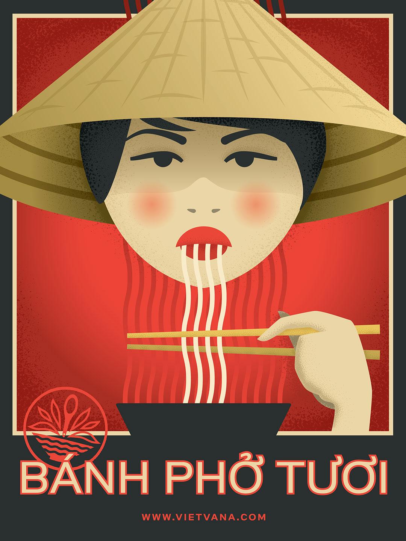 Vietvana french style illustration of pho noodles